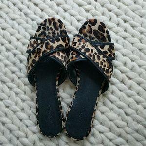 JCrew leopard hair sandals
